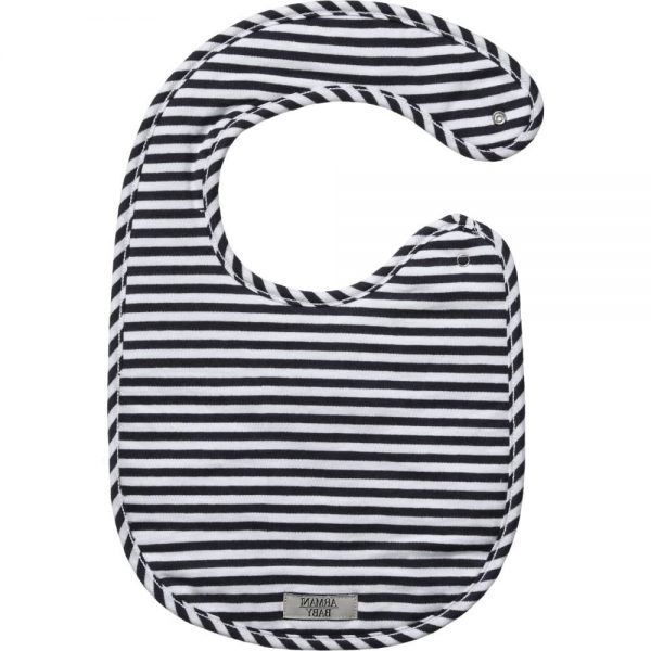 ARMANI BABY White & Navy Blue Cotton Bib 1
