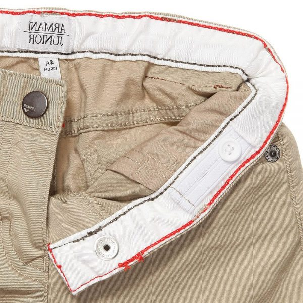 ARMANI JUNIOR Boys Beige Cotton Shorts 2