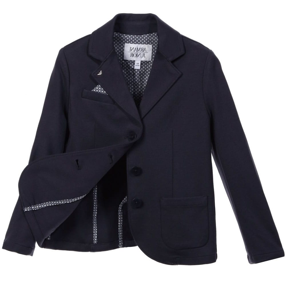 f625b2d5f8aa ARMANI JUNIOR Boys Navy Blue Jersey Blazer - Children Boutique