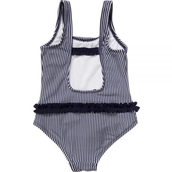 ARMANI JUNIOR Girls Blue Striped Swimsuit 1