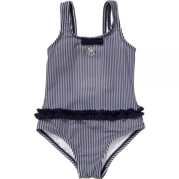 ARMANI JUNIOR Girls Blue Striped Swimsuit