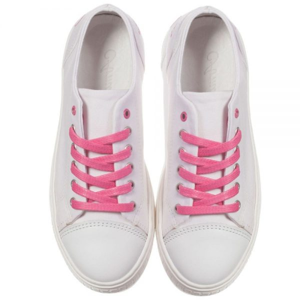 ARMANI TEEN Girls White Canvas Trainers 2