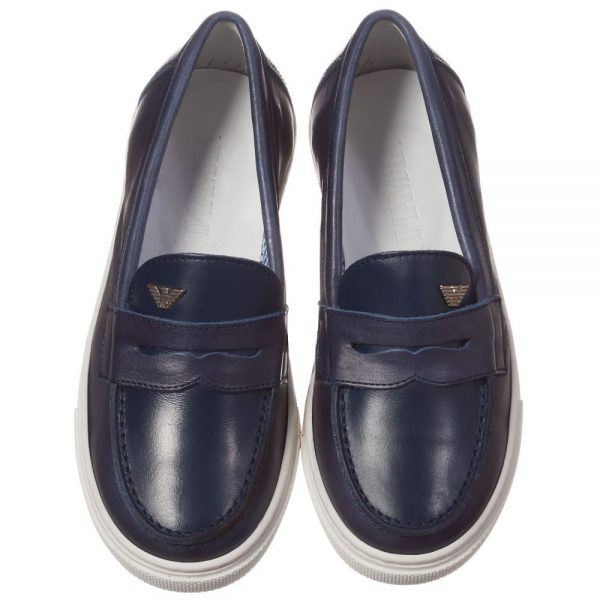 ARMANI TEEN Navy Blue Leather Loafers 2