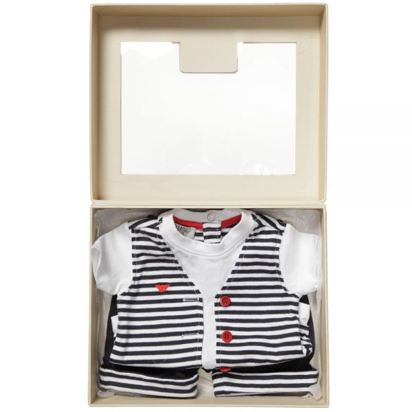 ARMANI BABY Baby Boys Blue T-Shirt & Shorts Gift Set 4