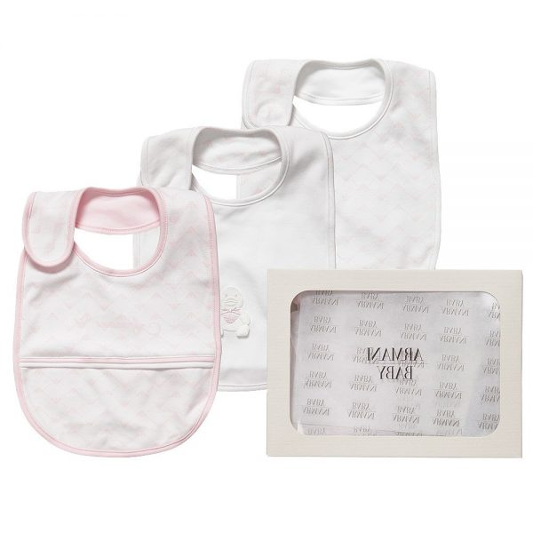 ARMANI BABY Baby Girls Ivory & Pink Bibs (Pack of 3)