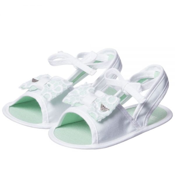 ARMANI BABY Baby Girls White Pre-Walker Sandals 1