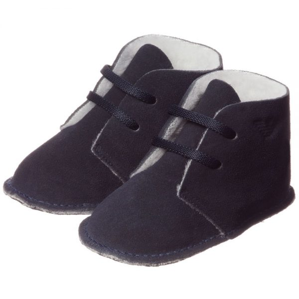 ARMANI BABY Blue Suede Bootees with Fleece Lining 1