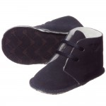ARMANI BABY Blue Suede Bootees with Fleece Lining