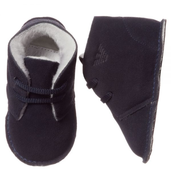 ARMANI BABY Blue Suede Bootees with Fleece Lining 2