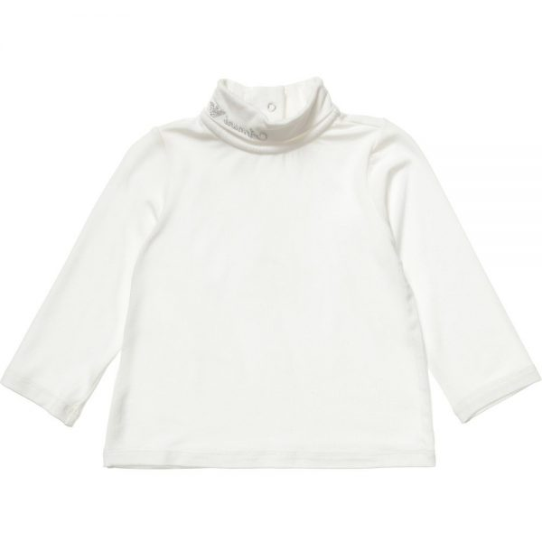 ARMANI BABY Girls Ivory Jersey Roll Neck Top