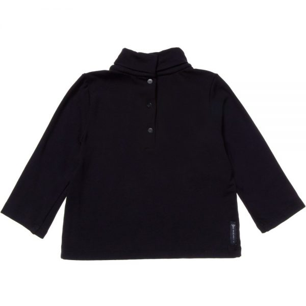 ARMANI BABY Girls Navy Blue Jersey Roll Neck Top 1