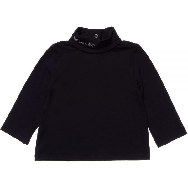 ARMANI BABY Girls Navy Blue Jersey Roll Neck Top