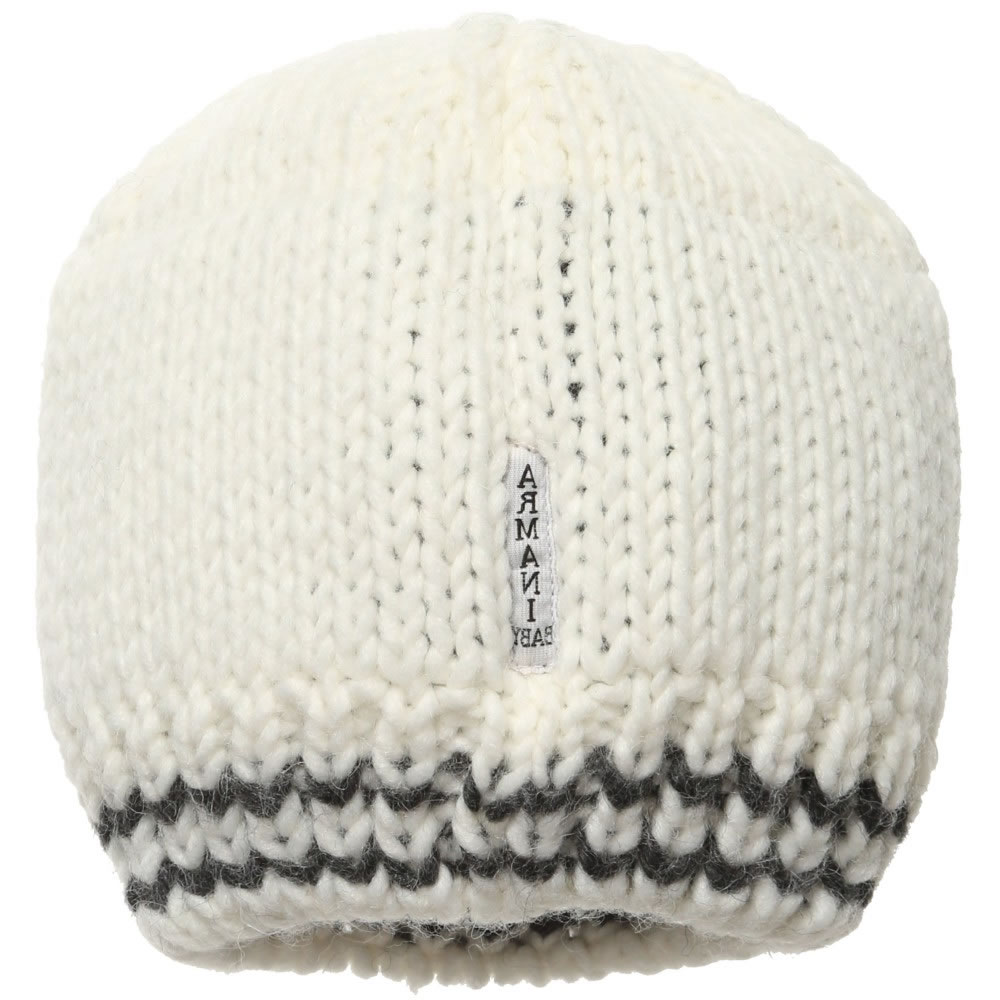 ARMANI BABY Ivory Knitted Baby Hat - Children Boutique 42d4f931738