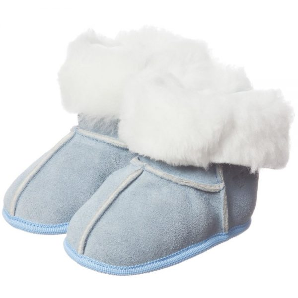 ARMANI BABY Pale Blue Suede Fur Lined Bootees 1