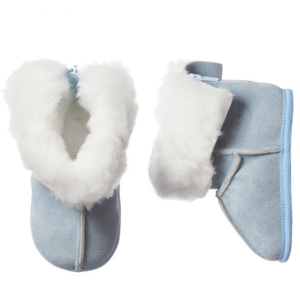 ARMANI BABY Pale Blue Suede Fur Lined Bootees 2