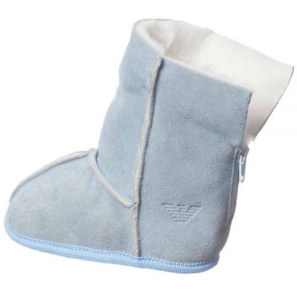 ARMANI BABY Pale Blue Suede Fur Lined Bootees 3