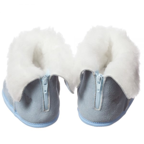 ARMANI BABY Pale Blue Suede Fur Lined Bootees 4