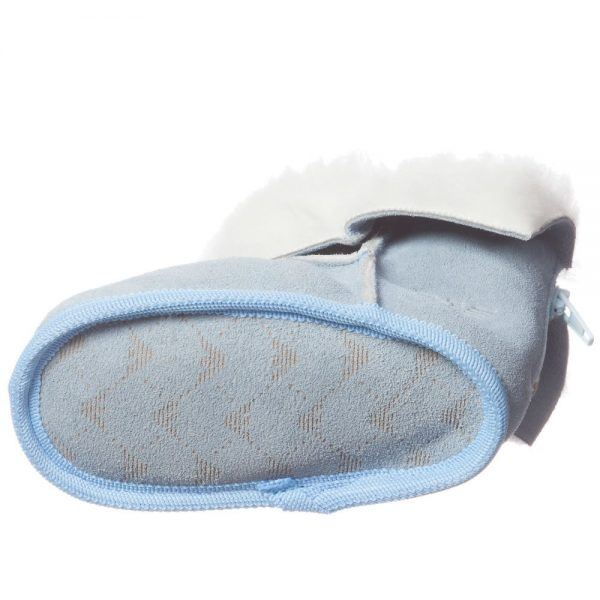 ARMANI BABY Pale Blue Suede Fur Lined Bootees 5