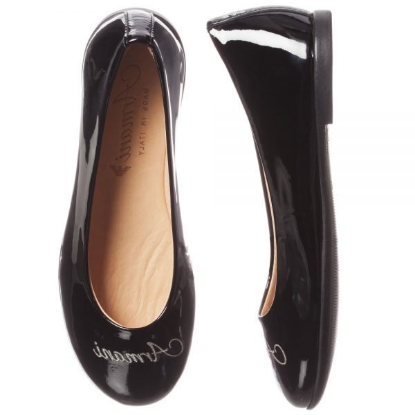 ARMANI JUNIOR Black Patent Leather Logo Pumps 1
