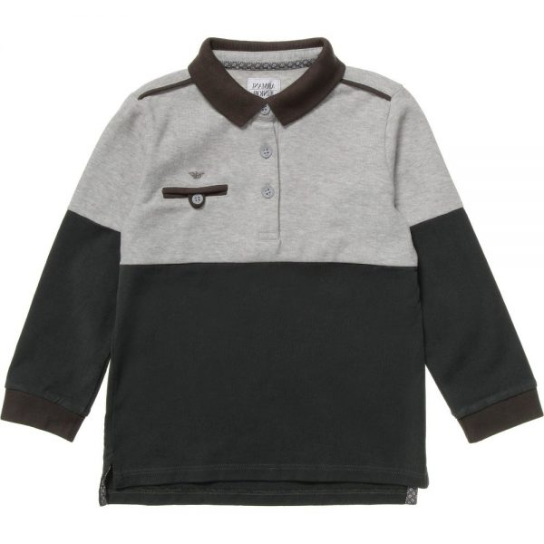 ARMANI JUNIOR Boys Grey Cotton Jersey Polo Shirt