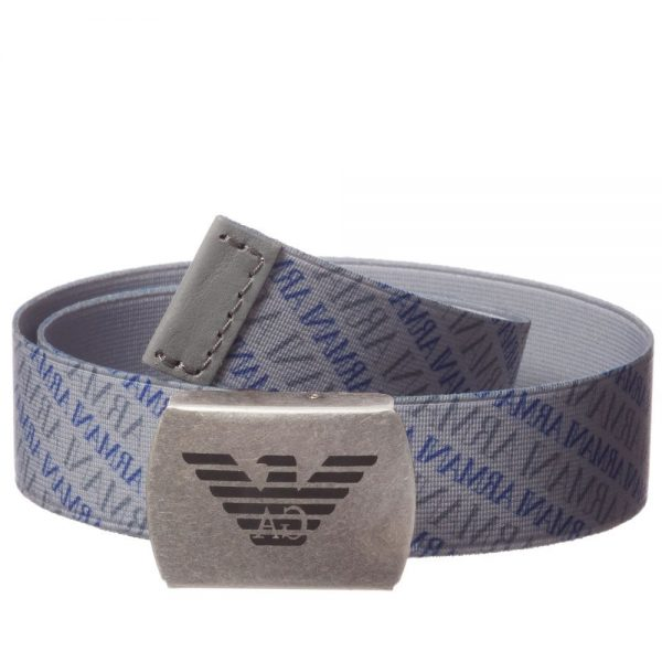 ARMANI JUNIOR Boys Grey Elasticated Belt 1