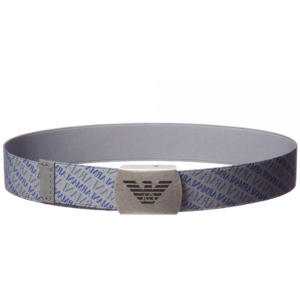 ARMANI JUNIOR Boys Grey Elasticated Belt