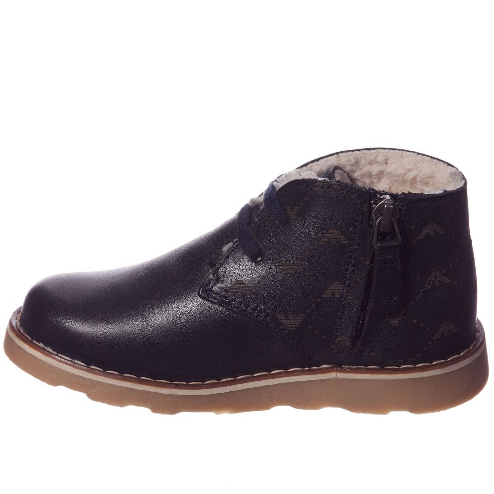 e48da26545d3 ... ARMANI JUNIOR Boys Navy Blue Leather Fur Lined Ankle Boots 1 ...