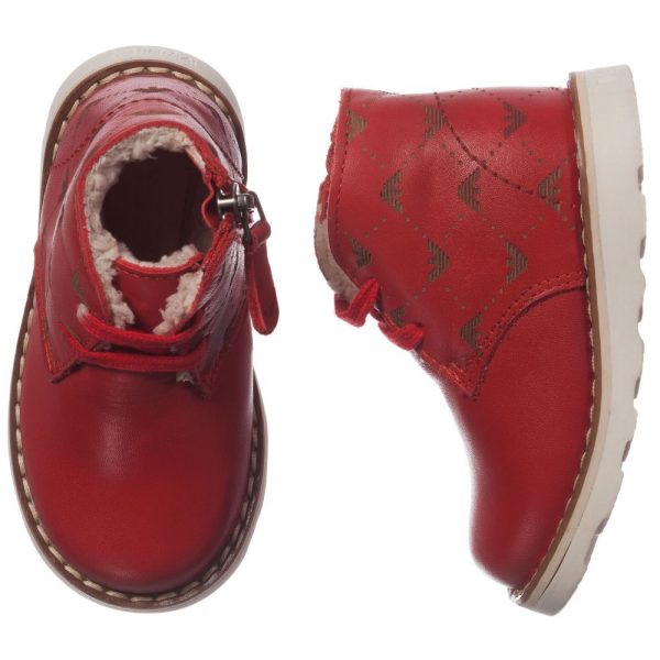 ARMANI JUNIOR Boys Red Leather Fur Lined Ankle Boots 1