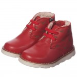 ARMANI JUNIOR Boys Red Leather Fur Lined Ankle Boots