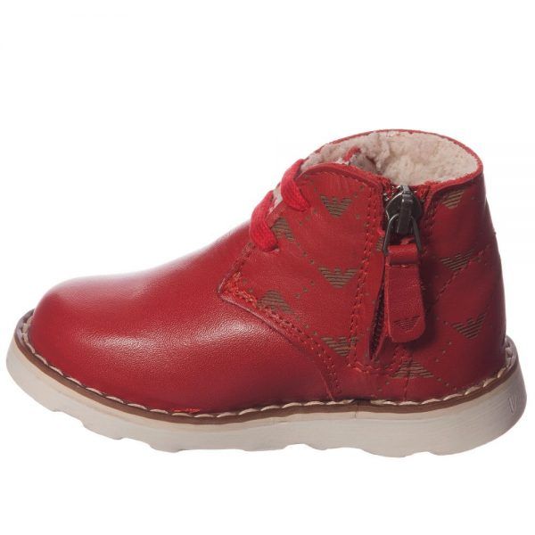 ARMANI JUNIOR Boys Red Leather Fur Lined Ankle Boots 2