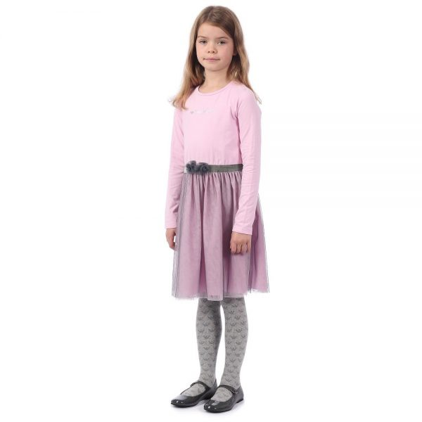 ARMANI JUNIOR Girl Pink Dress With Tulle 1
