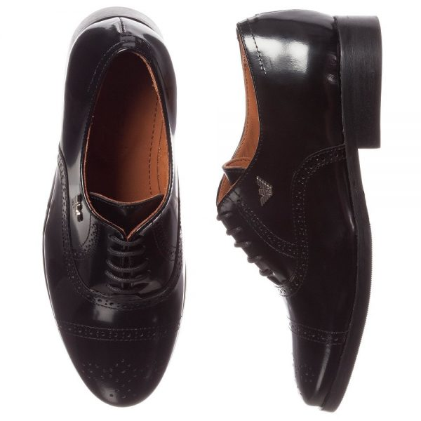 ARMANI TEEN Black Leather Lace-Up Brogue Shoes 1