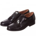 ARMANI TEEN Black Leather Lace-Up Brogue Shoes