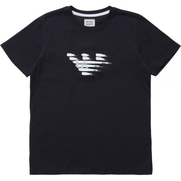 ARMANI TEEN Boys Navy Blue Logo T-Shirt