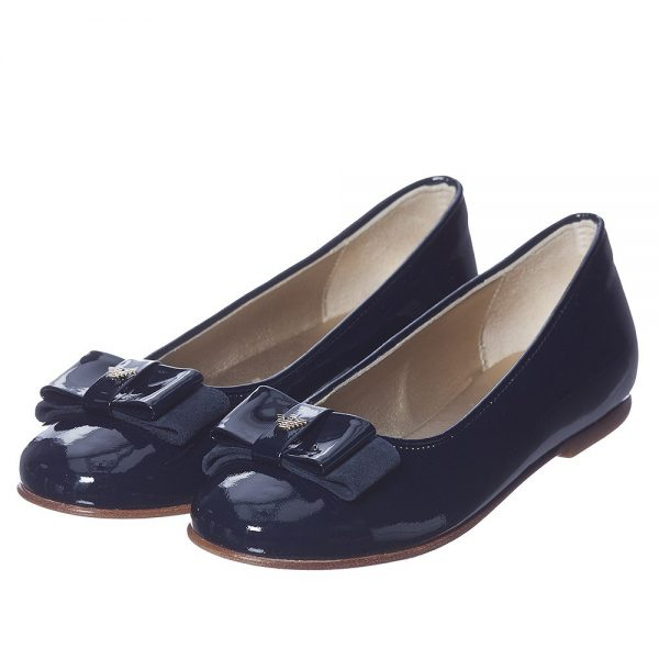 6276a488f ARMANI TEEN Girls Navy Blue Patent Leather Shoes - Children Boutique