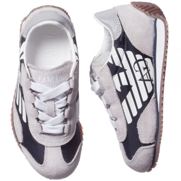 ARMANI TEEN Grey and Blue Suede Leather Trainers 1