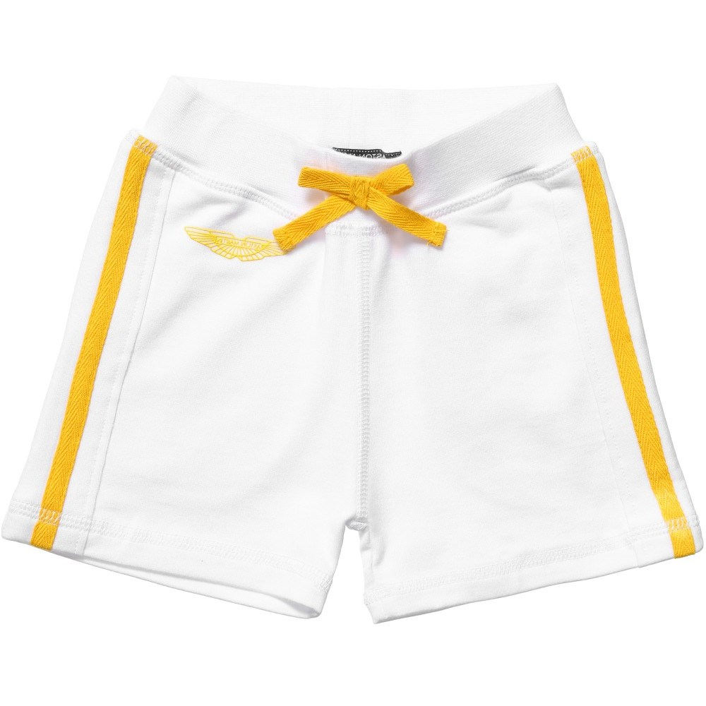 ASTON MARTIN Baby Boys White Jersey Shorts With Paint