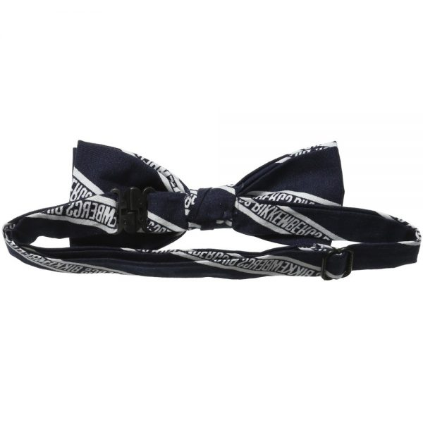 BIKKEMBERGS Navy Blue Cotton Logo Bow Tie 1