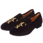 BILLIONAIRE Boys Black Velvet Loafers