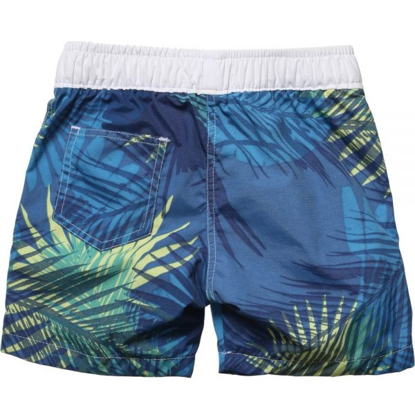 BOSS Boys Blue Tropical Palm Print Swim Shorts 1