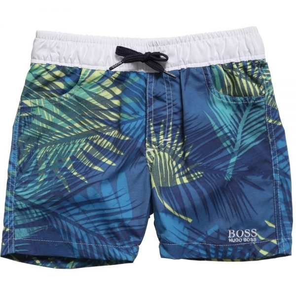 BOSS-Boys-Blue-Tropical-Palm-Print-Swim-Shorts