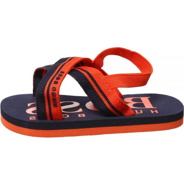 BOSS Unisex Baby Navy Blue & Orange Sandals 1