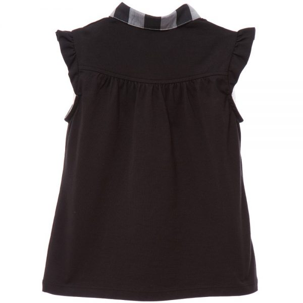 BURBERRY Black Jersey Blouse with Grey Check Collar 1