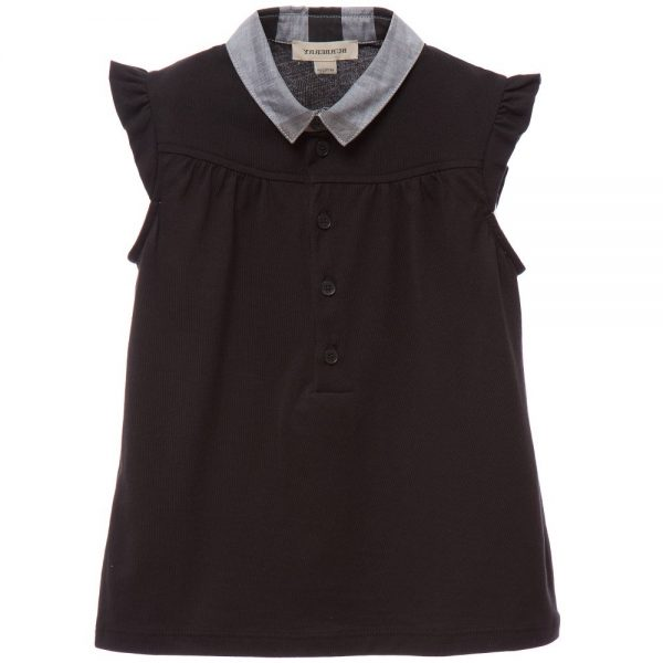 BURBERRY Black Jersey Blouse with Grey Check Collar
