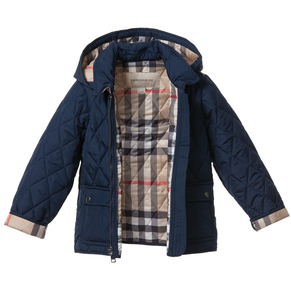 Burberry Boys Navy Blue Lightweight Quilted Jacket