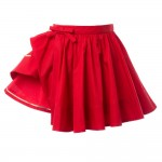 BURBERRY Girls Red Cotton Wrapover Skirt 2