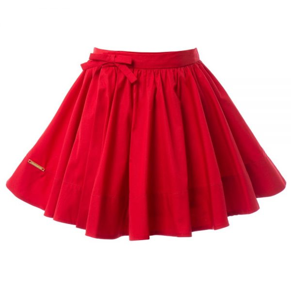 BURBERRY Girls Red Cotton Wrapover Skirt