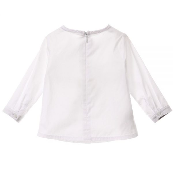 BURBERRY Girls White Cotton Blouse 1