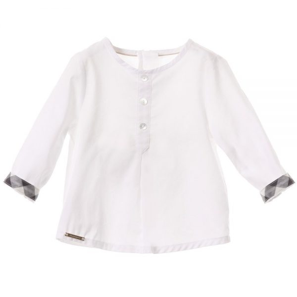 BURBERRY Girls White Cotton Blouse