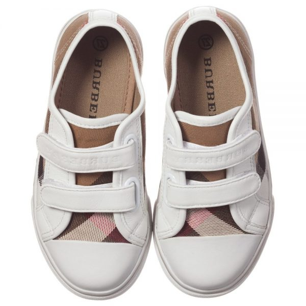 BURBERRY Unisex Beige Check Trainers with White Trim 1